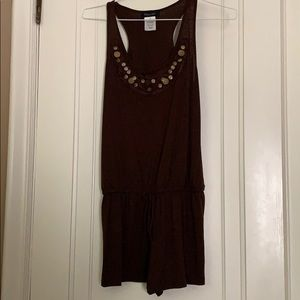 Brown embellished romper